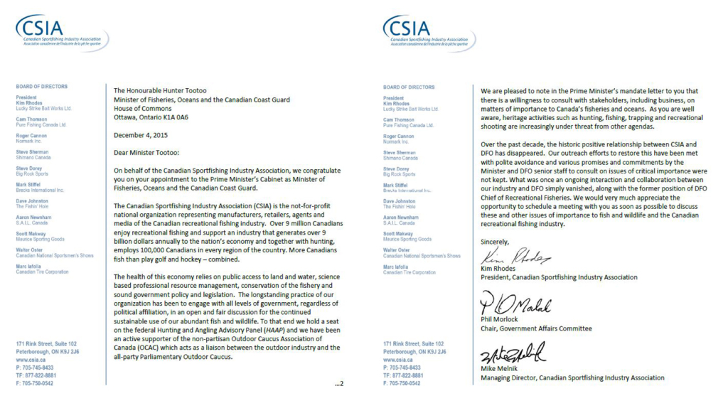 CSIA-Letter to the Honourable Hunter Tootoo Minister of Department of Fisheries and Oceans